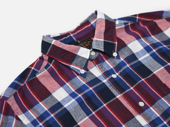 Beams Plus Blue Red Plaid BD