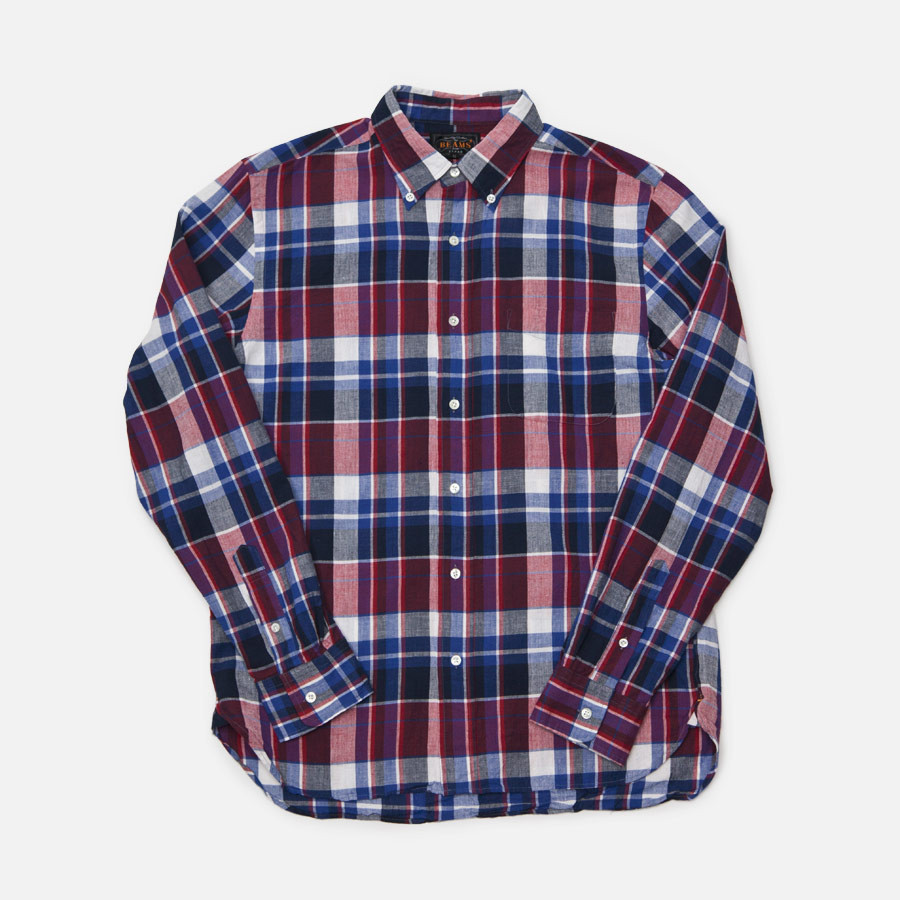 Beams plus Btutton Down Madras Check Shirt