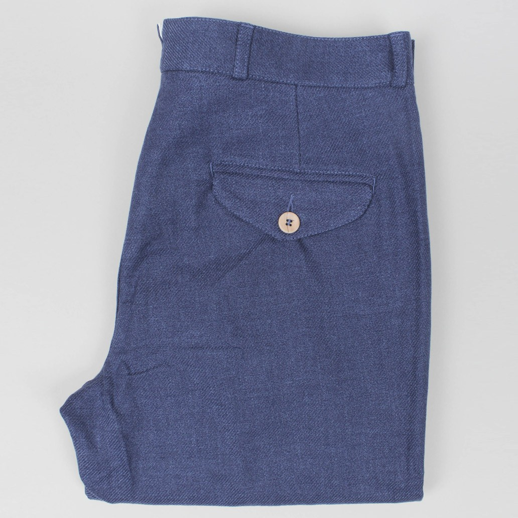 Oliver Spencer fishtail trouser ancroft blue
