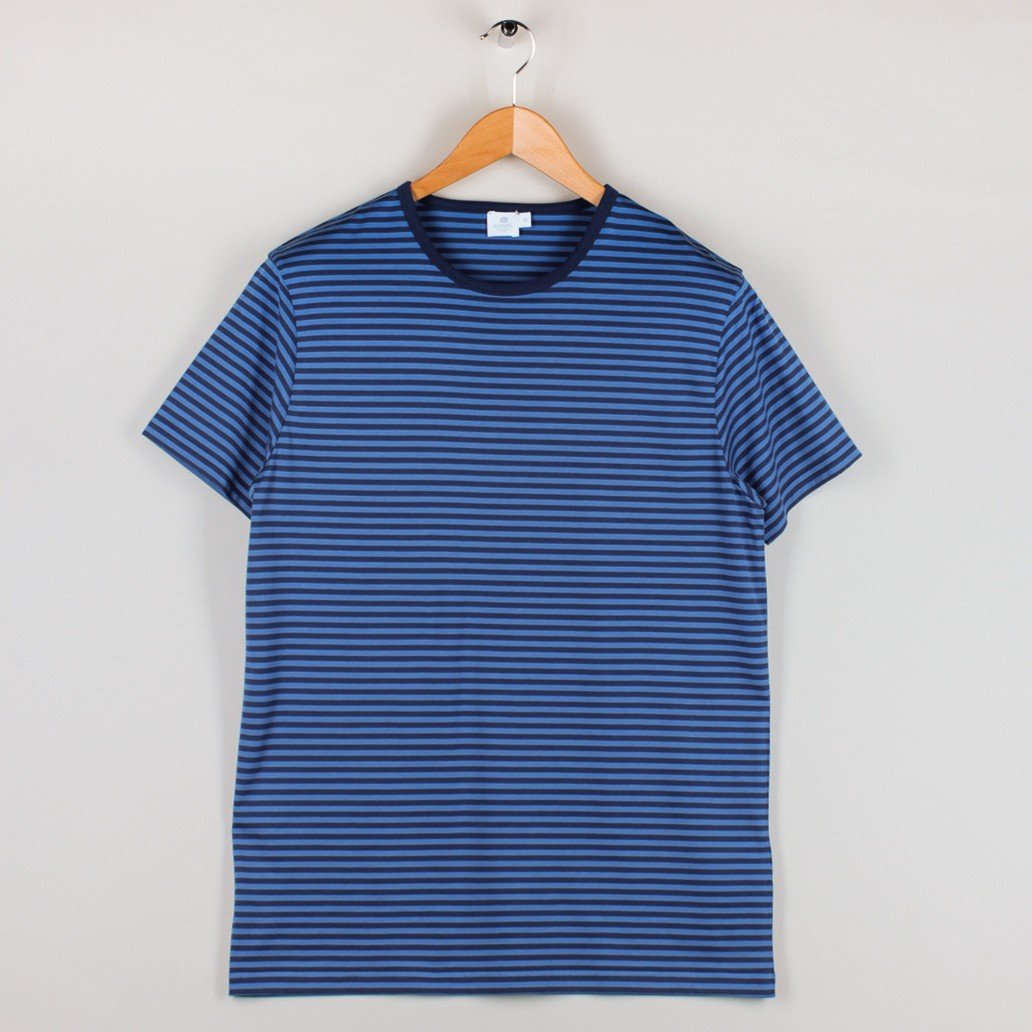 Sunspel french stripe crew tee indigo orient